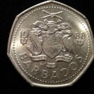 Vintage ANTIQUE OLD COIN: 1988 BARBADOS ISLANDS, ONE DOLLAR, FISH COIN CREST