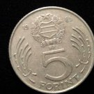 Vintage ANTIQUE OLD COIN: MAGYAR HUNGARY 1985 COMMUNIST ERA 5 FORINT COIN