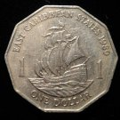 Vintage ANTIQUE OLD COIN: 1989 EAST CARIBBEAN STATES ONE DOLLAR, SAILING SHIP
