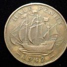 Vintage Coin: 1942 WW2 ERA SHIP SAILING BOAT UK ENGLAND HALF PENNY COIN CENT