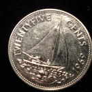 ANTIQUE Vintage Coin: BAHAMAS ISLANDS SHIP COIN, 1967 25 CENTS SAILBOAT
