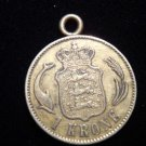 ANTIQUE Vintage Coin: BEAUTIFUL PENDANT SWEDEN? 1 KRONER 1890 INSCRIBED DOLPHINS