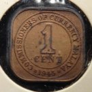 Antique/Vintage World Coin: Malaya, British Colonial, King George Square 1945