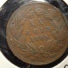 Antique/Vintage World Coin: 20 XX Reis Copper Large Coin, Portugal King Luiz I