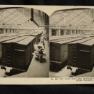 ORIGINAL STEREOVIEW ANTIQUE PHOTO ART: SEARS AND ROEBUCK: TRAIN IN SHIPPING ROOM