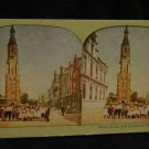 ORIGINAL STEREOVIEW ANTIQUE CARD ART: STREET SCENE AND CATHEDRAL, HOLLAND