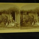 ORIGINAL STEREOVIEW ANTIQUE CARD ART: CHILDREN ON PORCH, VICTORIAN FASHION