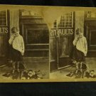 """ORIGINAL STEREOVIEW ANTIQUE CARD ART: """"THE BROKEN PITCHER"""" GIRL CRYING"""