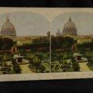 ORIGINAL STEREOVIEW ANTIQUE CARD ART: VATICAN GARDEN, ST PETERS, ROME, ITALY