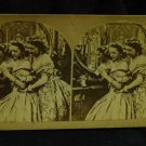 "ORIGINAL STEREOVIEW ANTIQUE CARD ART:  ""YOUNG CURIOUSITY"" 2 GIRLS FASHION DRESS"