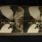 ORIGINAL STEREOVIEW ANTIQUE CARD ART: MOUNTAINS, STEAM SHIP, NAEROFJORD NORWAY