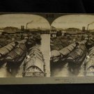 ORIGINAL STEREOVIEW ANTIQUE CARD ART:FLOATING HOMES, PASIG RIVER, MANILLA