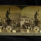 ORIGINAL STEREOVIEW ANTIQUE CARD ART: MARKET PLACE, SARAJEVO, BOSNIA AUST-HUNGAR