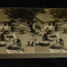 ORIGINAL STEREOVIEW ANTIQUE CARD ART: KEYSTONE: VILLAGE HOME IN INDIA FAMILIES
