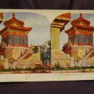 ORIGINAL STEREOVIEW ANTIQUE CARD ART: ROYAL SERIES: BUDDHIST TEMPLE, PEKIN CHINA