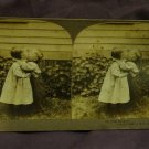 "ORIGINAL STEREOVIEW ANTIQUE PHOTO: ""SHE GETS THE KISS"" FIRST KISS 1898 GIRL BOY"
