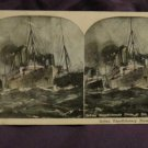 ORIGINAL STEREOVIEW ANTIQUE PHOTO: INDIAN EXPEDITIONARY FORCE AT SEA INDIA SHIP