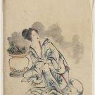 *New* Antique Japan,Japanese Photo[8x10] Courtesan, Flowerpot, Art Reprint Photo