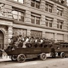 REPRODUCTION ANTIQUE PHOTO:SEPIA: ANTIQUE NEW YORK SIGHTSEEING TOUR -GUIDE CAR