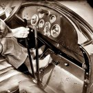 REPRODUCTION ANTIQUE PHOTO:SEPIA: ANTIQUE CAR INTERIOR, WOMAN DRIVING GLOVES
