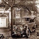 REPRODUCTION ANTIQUE PHOTO:SEPIA: ANTIQUE AUTOMOBILE CAR CRASH, WRECKED