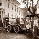 REPRODUCTION ANTIQUE PHOTO:SEPIA: STORY UNKNOWN: AUTOMOBILE CRASH NEWSBOYS