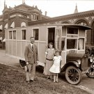 REPRODUCTION ANTIQUE PHOTO:SEPIA: STORY UNKNOWN: ANTIQUE RV, HOUSE-CAR FAMILY