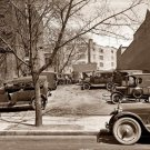 REPRODUCTION ANTIQUE PHOTO:SEPIA: STORY UNKNOWN: ANTIQUE CAR, OLD CARS PARKED