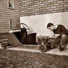 REPRODUCTION ANTIQUE PHOTO:SEPIA: STORY UNKNOWN:ANTIQUE CAR GO CART FUEL FILLING