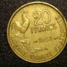 "1953 FRANCE/FRENCH COIN: 20 FRANCS ""LIBERTE-EGALITE-FRATERNITE"""
