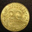 """1984 FRANCE/FRENCH COIN: 20 CENTIMES """"LIBERTE-EGALITE-FRATERNITE"""""""