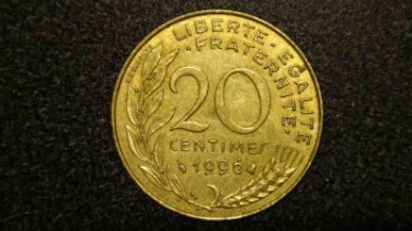 "1996 FRANCE/FRENCH COIN: 20 CENTIMES ""LIBERTE-EGALITE-FRATERNITE"""