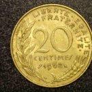 """1968 FRANCE/FRENCH COIN: 20 CENTIMES """"LIBERTE-EGALITE-FRATERNITE"""""""