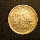 "1918 FRANCE/FRENCH COIN: 50 CENTIMES ""LIBERTE-EGALITE-FRATERNITE"""