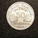 """1943 FRANCE/FRENCH COIN: 50 CENTIMES """"LIBERTE-EGALITE-FRATERNITE"""""""