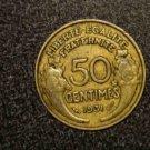 """1931 FRANCE/FRENCH COIN: 50 CENTIMES """"LIBERTE-EGALITE-FRATERNITE"""""""