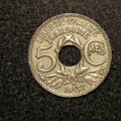 "1937 WW2 FRANCE/FRENCH COIN: 5 CENTIMES CMES ""LIBERTE-EGALITE-FRATERNITE"""