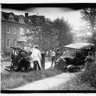 *NEW* Antique Old Wreck Photo[8x10] Auto Accident, Overturned, Buildings,Crowd