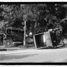 *NEW* Antique Old Wreck Photo[8x10] Auto Accident, Overturned, Sidewalk,lamp