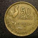 "1952-B ROOSTER FRANCE/FRENCH COIN: 50 FRANCS ""LIBERTE-EGALITE-FRATERNITE"""