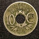 1919  VINTAGE FRANCE/FRENCH COIN: 10 CENTIMES CMES HOLED