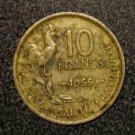1955 ROOSTER VINTAGE FRANCE/FRENCH COIN: 10 FRANCS VINTAGE