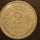 1944 WW2 ALUMINUM FRANCE/FRENCH COIN: 2 FRANCS VINTAGE