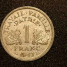 1943 WW2 ALUMINUM FRANCE/FRENCH COIN: 1 FRANC VINTAGE