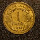 1938 WW2 FRANCE/FRENCH COIN: 1 FRANC VINTAGE (LIBERTE EGALITE)