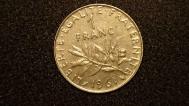 1961 FRANCE/FRENCH COIN: 1 FRANC VINTAGE (LIBERTE EGALITE)