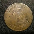 DAMAGED WORN NAPOLEON : EMPIRE FRANCAIS FRENCH COIN CENTIMES WITH EAGLE