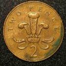 1997 BRITISH UK ENGLAND TWO PENCE COOL DESIGN: Antique/Vintage OLD Coin