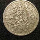 1966 BRITISH UK ENGLAND TWO SHILLINGS CROWN DESIGN: Antique/Vintage OLD Coin