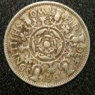 1961 BRITISH UK ENGLAND TWO SHILLINGS CROWN DESIGN: Antique/Vintage OLD Coin
